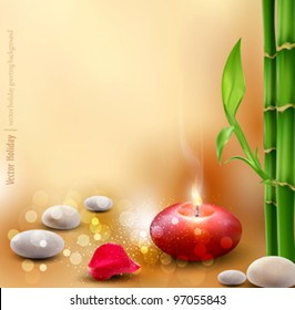 Vector romantic background with bamboo and lit candles
