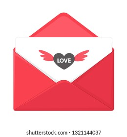Vector romantic envelope icon with heart. In a red envelope a love letter with a heart. Illustration of love letter in flat minimalism style.