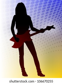 Vector romantic heavy metal guitarist on abstract background