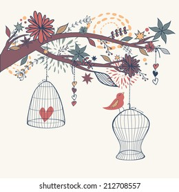 Vector romantic illustration with bird out of cages, branch and flowers. Freedom concept card.