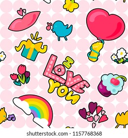 Vector romantic love patch I love you and girl fashion patchworks design. Isolated images of love and heart or rainbow and twit