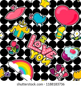 Vector Romantic Love Seamless Pattern in doodle style with shape. Girl fashion ornament. Nice cartoon background. Fun backdrop.