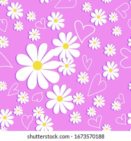 Vector romantic pattern background with daisies in a flat style. Seamless pattern of daisies on a colored background, children's, print, textile, floral print