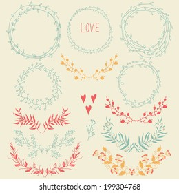 Vector romantic set of circle floral borders,floral design elements and hearts. Sketch frames, hand-drawn in vintage style. Vector illustration.