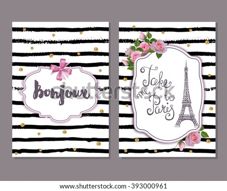 Vector romantic template pink roses eiffel stock vector royalty vector romantic template with pink roses eiffel tower save the date bridal shower filmwisefo