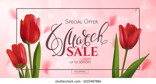 Vector romantic template of sale horizontal banner for Women's Day with red realistic tulips and a frame. Holiday pink background with flower petals and text 8 March for discount and special offers.