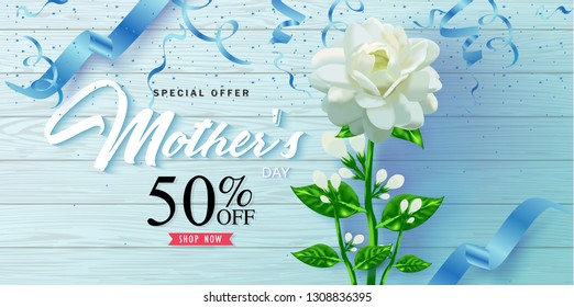Vector romantic template of sale horizontal banner for Mother's Day with jasmine flower, ribbon on wooden floor. Holiday background for discount and special offers. Vector illustration.