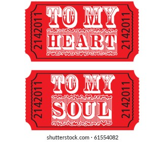 vector romantic tickets to my heart and soul