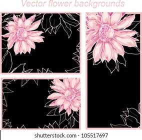 Vector romantic wedding backgrounds for invitation, flaer, visit card. tender rose flower and black background.