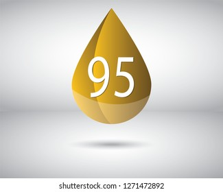 A vector of RON 95 Octane rating or number for standard measure of the performance of an engine.