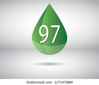A vector of RON 97 Octane rating or number for standard measure of the performance of an engine.