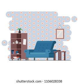 Vector room with Sofa and book shell