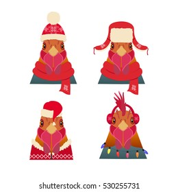 Vector Rooster Head set in cartoon flat. Chinese new year symbols in winter red new year, christmas clothing: Red hat scarf hood headphones.Object for poster banner print design. Advertisement element