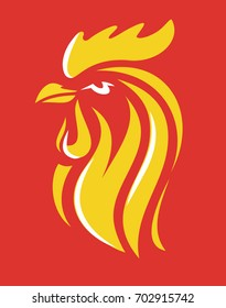 vector Rooster Head Symbol on red background