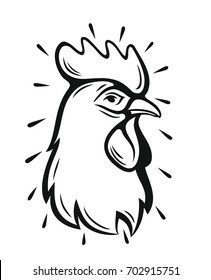 vector Rooster Head Symbol on white background
