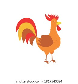 Vector rooster on a white background, colorful funny character. Cartoon.