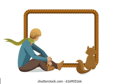 Vector rope frame with little prince and fox, isolated on white background