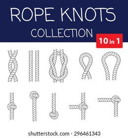 Vector rope knots collection. Overhand, figure of eight and square knot. Seamless decorative elements