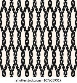 Vector rope seamless pattern. Black and white geometric nautical texture with mesh, fishnet, weave, knitting, grid, lattice, fabric. Simple abstract monochrome background. Repeat design for decoration