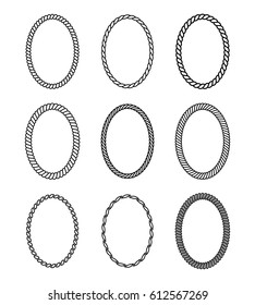 Vector rope set of oval frames. Collection of thick and thin borders isolated on white background, consisting of braided cord and string. For decoration and design in marine style.