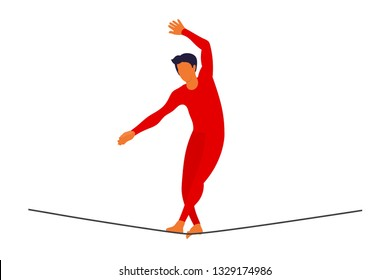 Vector ropewalker walker on a long rope on a white background. Balancing funambulist in leotard, circus artist. The figure of a young tightrope-dancer. Circus illustration vector wire-dancer
