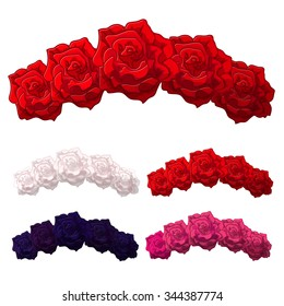 Vector Rose Flower crown. Diadem. Head wreath. flower halo. decoration.  Headband. Flower Headband.