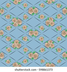 Vector rose flower miniprint seamless pattern on a blue background. Stylized hand drawn little rose flowers.