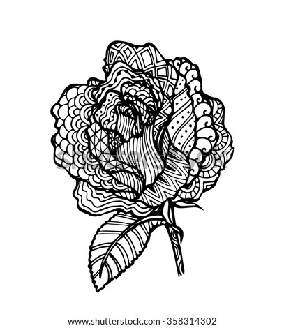Vector Rose Flower Zentangle Style Stock Vector Royalty Free