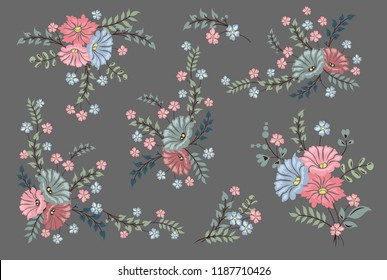 Vector rose set. Colorful floral collection with leaves and flowers,Design for invitation, wedding or greeting cards