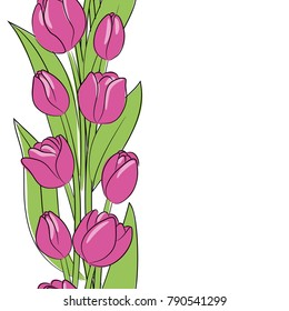 vector rose tulip  flowers vertical border