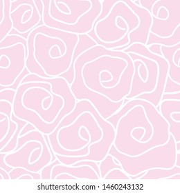 Vector Roses in Pastel Pink and White Seamless Repeat Pattern