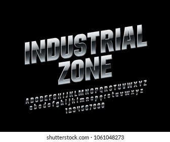 Vector Rotated Sign Industrial Zone. Reflective Metallic Font. Silver modern Alphabet Letters, Numbers and Symbols