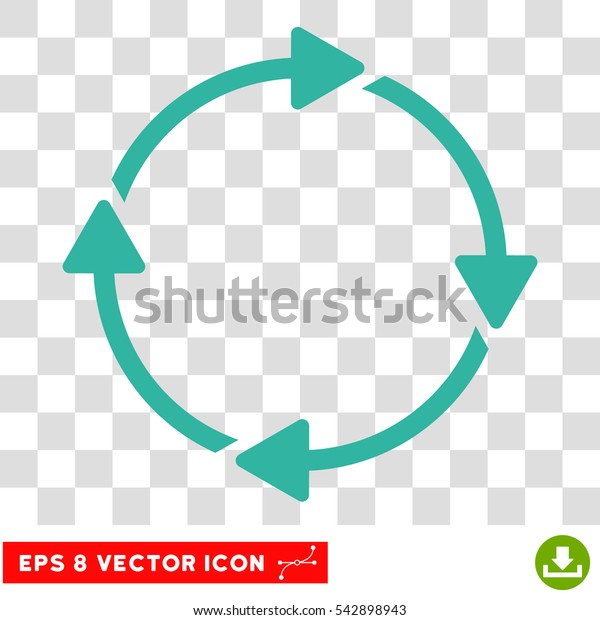 Vector Rotation EPS vector pictogram. Illustration style is flat iconic cyan symbol on a transparent background.