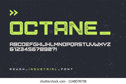 Vector rough industrial style display font, modern blocky typeface, futuristic uppercase letters and numbers, alphabet. Global swatches.