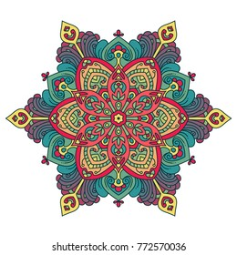 Vector round abstract circle. Mandala style decorative element.