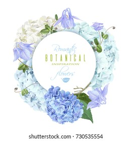 Vector round banner with blue and white hydrangea flowers on white background. Floral design for cosmetics, perfume, beauty product. Can be used as greeting card, wedding invitation, packaging element