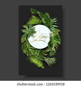 Vector round banner with green tropical leaves on black background. Exotic botanical design for cosmetics, spa, perfume, beauty salon, travel agency, florist shop. Best as packaging design
