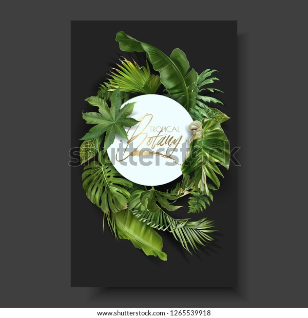 Vector Round Banner Green Tropical Leaves Stock Vector Royalty Free 1265539918