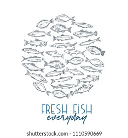 Vector round banner hand drawn fish. Design seafood with bream, mackerel, tunny or sterlet, codfish and halibut. Outline icon tilapia, ocean perch, sardine, anchovy, sea bass and dorado. Retro style.