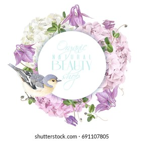 Vector round banner with hydrangea, bell flowers and cute bird on white. Floral tender design for cosmetics, perfume, beauty products. Best for greeting card, wedding invitation. Can be used as logo