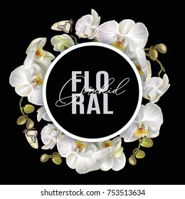 Vector round banner with white orchid flowers on black background. Tropical floral design for cosmetics, perfume, beauty care products. Can be used as greeting card, wedding illustration