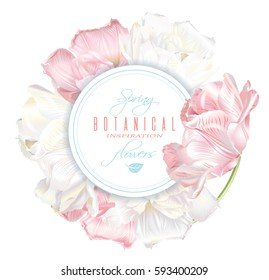 Vector round banner with white and pink tulip flowers. Spring tender romantic design for natural cosmetics, perfume, florist shop. Can be used as beauty logo, greeting card or wedding invitation