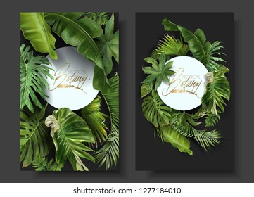 Vector round banners with green tropical leaves on black background.   Best as wedding invitation cards