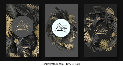 Vector round banners set with gold and black tropical leaves on dark background.   Best as wedding invitation card