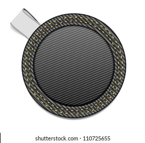 Vector round black denim fabric badge with a white ribbon tag