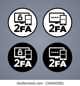 Vector round black and white two factor authentication icons on grey background