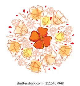 Vector round bouquet with outline orange California poppy flower or California sunlight or Eschscholzia, leaf and bud isolated on white background. Ornate contour poppies for enjoy summer design.