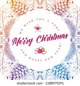 Vector round Christmas frame with hand drawn natural winter elements. Christmas greeting card design.