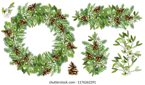 Vector Round Christmas wreath with mistletoe, fir cone, spruce branches isolated on white. For festive decoration, announcements, cards, invitations, posters.