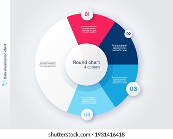 Vector round circle infographic chart template divided by four parts.